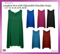 New Ladies Women Sleeveless Longline Vest Top with Shoulder Loops PlusSize 16-28