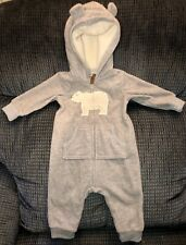 CARTERS Infant Baby Boy Girl Gray Bear Hooded Fleece...