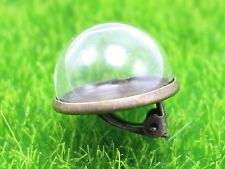 A Pair DIY Bronze Snap Clip-on Back Earrings with 20mm Glass Terrarium 1/2 Globe