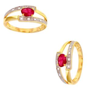 Bague Pierre Rubis et Diamants En OR JAUNE 9 CARATS 375/1000 T52-54-56-58