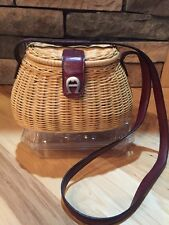 Vintage Etienne Aigner Wicker And Leather Fishing Basket Creel Purse Bag EUC