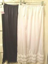 Nwts 2 Pc Patricia Lingerie Lady Sz Small White & Black Half Slips Adj Lengths