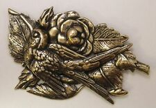 #8992 LARGE ANTIQUED GOLD FLORAL W/BIRD DESIGNER BROOCH - 1 Pc Lot