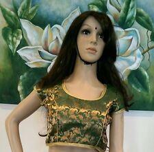 """36"""" S Designer Saree Blouse Indian Bollywood Sari Top Silk Choli Green Gold R7"""
