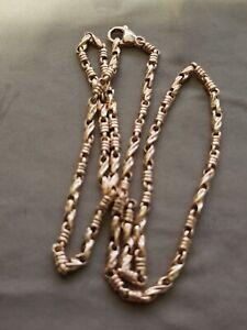 """14k Rose Gold Handmade Fashion Link Necklace 22"""" 3.5mm 35 grams"""