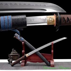 Short Sword Japanese Wakizashi T10 Steel w Clay Tempered Full Tang Sharp #2252