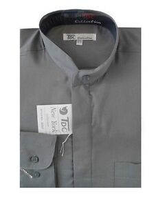 Mens' Mandarin Collar ( banded collar) Dress Shirt Cotton Blend Style SG01