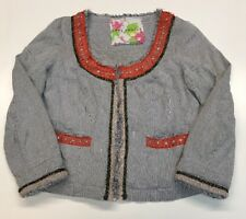 Free People My Fair Lady Blue Striped Orange Trim Beaded Jacket Blazer Sz 4