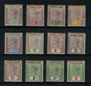SIERRA LEONE QUEEN VICTORIA 1896 - 97 SET OF 12 MOUNTED MINT TO 5/- SG 41 - 52