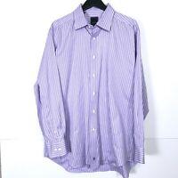David Donahue Trim Fit L/S Dress Shirt Button 100% Cotton Striped Mens 18 34/35