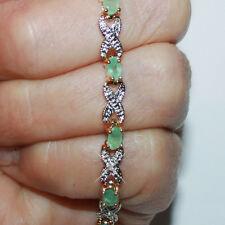 3.60ctw Natural Emerald Diamond X O Tennis Bracelet 14k Yellow Gold over 925 SS