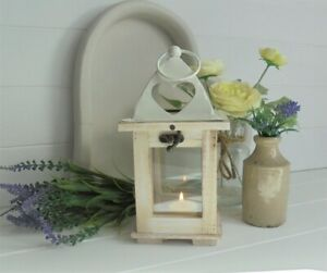 Rustic White Wooden Lantern with Metal Lid Tealight Holder Decoration 27x11cm