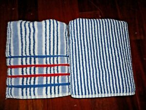 VINTAGE COLORMATE CABANA BLUE RED WHITE STRIPE (2P) BATH TOWELS SET COASTAL