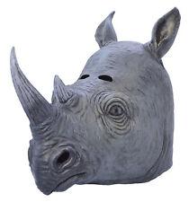 Rhino Caoutchouc Masque Tête Complète Déguisement Animal Accessoire Costume Neuf