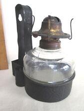 "Vintage GLASS Oil LAMP & TIN Wall HOLDER,Primitive,MATCH HOLDERS,7 1/4""H.,C.1860"
