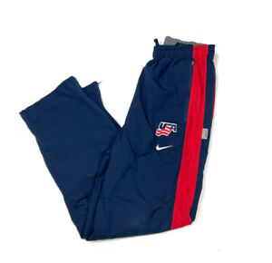 Nike USA Hockey Storm-Fit Navy Blue Windbreaker Pants Drawstring Lined S