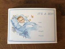Vintage Gordon Fraser Birth Announcements Boy Blue 10 Cards & Envelopes