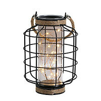 """Decorative metal lamp battery operated lamp table lantern 9.4"""" high cordless LED"""