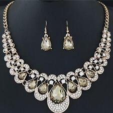 Champange Heart Jewelry Gold Crystal Necklace Pendant Earrings Womens Wedding