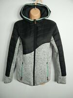WOMENS CELSIUS SIZE 40 UK 12 GREY ZIP UP HOODED FITTED HALF KNIT JACKET COAT