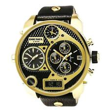 Diesel DZ7323 Mr Daddy Oversized Gold Black Leather Band 56MM AUTHENTIC NEW