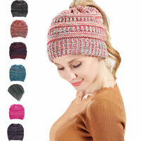 Women Beanie tail Messy High Bun Ponytail Stretchy Knit Skull Winter Hats Yc
