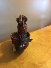 vintage Ftd Reindeer Flower Basket Bx Cd