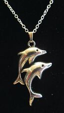 "NEW 18""  925 Sterling Silver Chain Pair Two  Dolphins Pendant Necklace Nice!!"