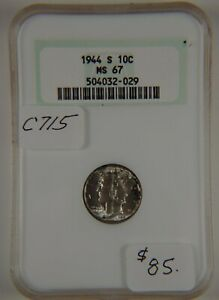 1944 S Mercury Dime, NGC MS 67, Graded in Holder