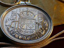 "Fine Scarce 1958 CANADA Silver 50 Cent Pendant on an 18"" Round Silver 925 Chain"