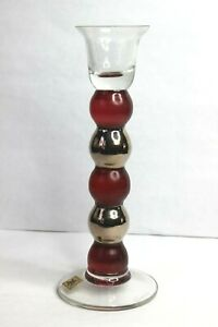 """Eisch Art Glass Candle Stick Holder Bulbous Cranberry Red Silver 8"""""""