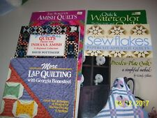 6 QUILTING BOOKS, QUILTERS, AMISH, WATERCOLOR, SEW FLAKES, DRESDEN, LAP QUILTING