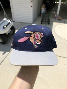 Vintage 1993 Nickelodeon Ren & Stimpy American Needle Blockhead Snapback Hat Cap