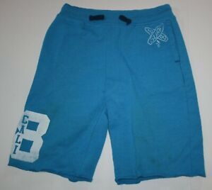 USED Boys Gap Kids 14 year Shorts Blue Pull on Soft Ribbed Waist Pockets Knit