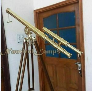"39"" VINTAGE BRASS DOUBLE BARREL GRIFFITH ASTOR TELESCOPE WITH TRIPOD STAND gift"