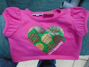 Build A Bear BABW Pink Tee Heart I Love Cookies Girl Scout Outfit Top
