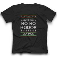 Ho Ho Hodor T-Shirt Game of Thrones Ugly Sweater Christmas Tee NEW