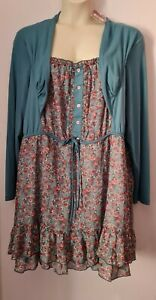 TEAL AND FLORAL PRINT JOE BROWNS DRESS PLUS SIZE 24