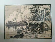 """Framed Original Pen & Ink Sketch """"Food & Shelter"""" by Arpad G. Gerster MD"""