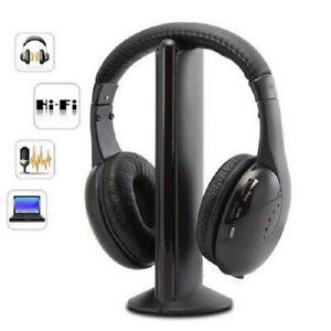 AURICULARES INALAMBRICOS MICRO 5 EN 1 RADIO FM TV PC MP3 MP4 RF SONIDO DIGITAL