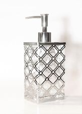 New Glass+Polished Silver Metal Frame Exterior Rectangle Soap Dispenser