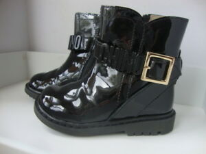MOSCHINO- BNIB- BLACK PATENT BRANDED BOOTS FOR KIDS- SIZE 21- RRP £200