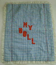 Homemade My Doll Blanket Blue White Gingham Lace Trimmed
