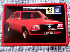 Blechschild, 20 x 30, Opel Ascona, Auto, KULT, Oldtimer, Neu, OVP
