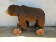Large Antique German Label Steiff Grizzly Bear Ride On Wheels  RARE