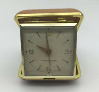 VINTAGE WESTCLOX WIND UP TRAVEL ALARM CLOCK TAN PLASTIC CASE  JAPAN