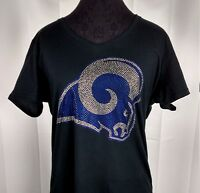 Women's Los Angeles Rams  Rhinestone Football V-neck T-Shirt Tee Bling Lady