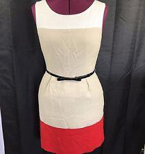 Kate Spade 100% Viscose Color Block Belted Back Zip Sleeveless Shift Dress Sz 6