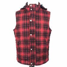 Woolrich John Rich Bros Hooded Vest Large Red Black Plaid Wool Winter Heavy