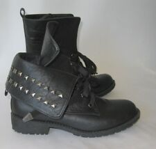 Dbdk Black Ankle Lace Stud Rugged Military Combat Sexy Ankle Boots Size 7